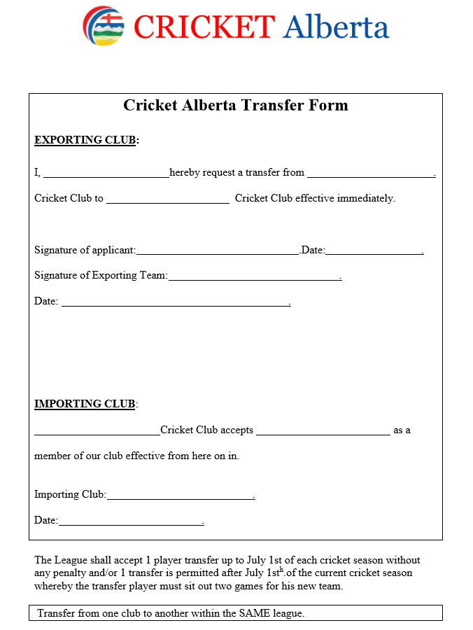 CA Transfer Form
